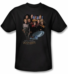 Star Trek Shirt Voyager Crew Adult Black Tee T-Shirt