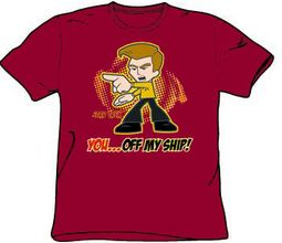 Star Trek T-shirt - Captain Kirk Off My Ship Adult Cardinal Red