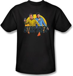 Star Trek T-shirt - Phasers Ready Adult Kirk Spock Black