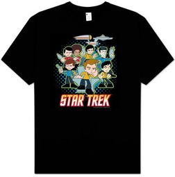 Star Trek T-shirt - Quogs Collage Classic Crew Cartoon Adult Black