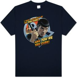 Star Trek T-shirt - TV Show Spock Pon Far Adult Navy Blue