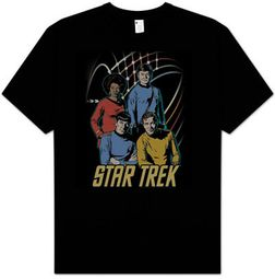 Star Trek T-shirt - Warp Factor 4 Retro Adult Black