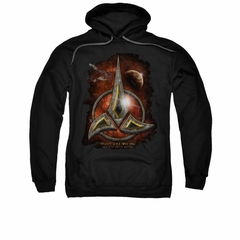 Star Trek - The Next Generation Hoodie Sweatshirt Klingon Crest Black Adult Hoody Sweat Shirt