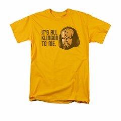 Star Trek - The Next Generation Shirt All Klingon Adult Gold Tee T-Shirt