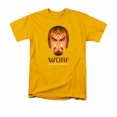 Star Trek - The Next Generation Shirt Bit Warrior Adult Gold Tee T-Shirt