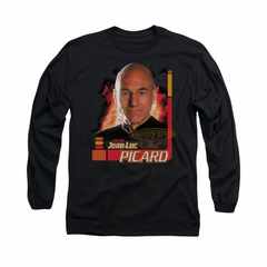 Star Trek - The Next Generation Shirt Captain Picard Long Sleeve Black Tee T-Shirt