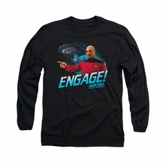 Star Trek - The Next Generation Shirt Distressed TNG Long Sleeve Black Tee T-Shirt