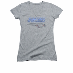 Star Trek - The Next Generation Shirt Juniors V Neck Distressed TNG Athletic Heather Tee T-Shirt
