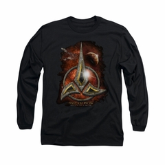Star Trek - The Next Generation Shirt Klingon Crest Long Sleeve Black Tee T-Shirt