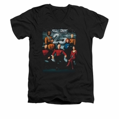 Star Trek - The Next Generation Shirt Slim Fit V Neck 25th Anniversary Black Tee T-Shirt