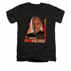 Star Trek - The Next Generation Shirt Slim Fit V Neck Captain Picard Black Tee T-Shirt