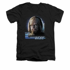 Star Trek - The Next Generation Shirt Slim Fit V Neck TNG Worf Black Tee T-Shirt