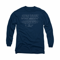 Star Trek - The Next Generation Shirt TNG Enterprise Long Sleeve Navy Tee T-Shirt