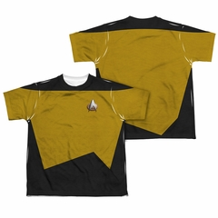 Star Trek - The Next Generation TNG Engineering Uniform Sublimation Kids Shirt Front/Back Print