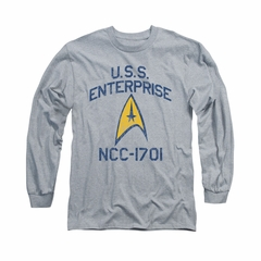 Star Trek - The Original Series Shirt Collegiate Arch Long Sleeve Athletic Heather Tee T-Shirt