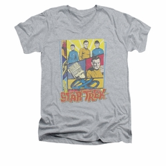 Star Trek - The Original Series Shirt Slim Fit V Neck Vintage Collage Athletic Heather Tee T-Shirt