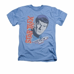 Star Trek - The Original Series Shirt Vintage Spock Adult Heather Light Blue Tee T-Shirt
