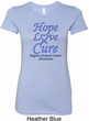 Stomach Cancer Tee Hope Love Cure Ladies Longer Length Shirt