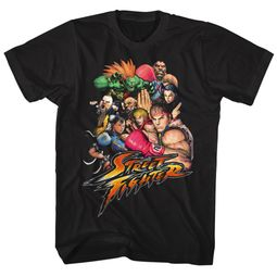 Street Fighter Shirt Group Photo Black T-Shirt