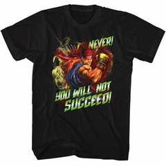 Street Fighter Shirt Never Succed Black T-Shirt