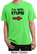Stupid Shirt I'm With Stupid Black Print Adult Pigment Dyed T-shirt