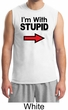 Stupid Shirt I'm With Stupid Black Print Funny Adult Muscle Shirt