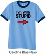 Stupid Shirt I'm With Stupid Black Print Funny Adult Ringer Shirt