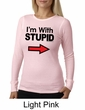 Stupid Shirt I'm With Stupid Black Print Funny Ladies Thermal Shirt