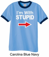 Stupid Shirt I'm With Stupid White Print Adult Ringer Shirt