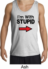 Stupid Tank Top I'm With Stupid Black Print Funny Adult Tanktop