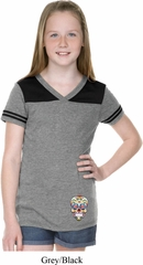 Sugar Skull Patch Bottom Print Girls Football Shirt