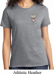 Sugar Skull Patch Pocket Print Ladies Shirt