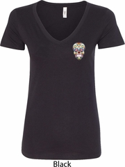 Sugar Skull Patch Pocket Print Ladies V-Neck Shirt