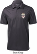 Sugar Skull Patch Pocket Print Mens Textured Polo Shirt