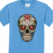 Sugar Skull with Roses Kids Skull Shirts