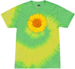 Sunflower Tie Dye Tshirt - Flo Yellow and Lime