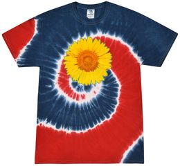 Sunflower Tie Dye Tshirt - Spider Royal and Red