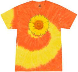 Sunflower Tie Dye Tshirt - Spider Yellow and Orange