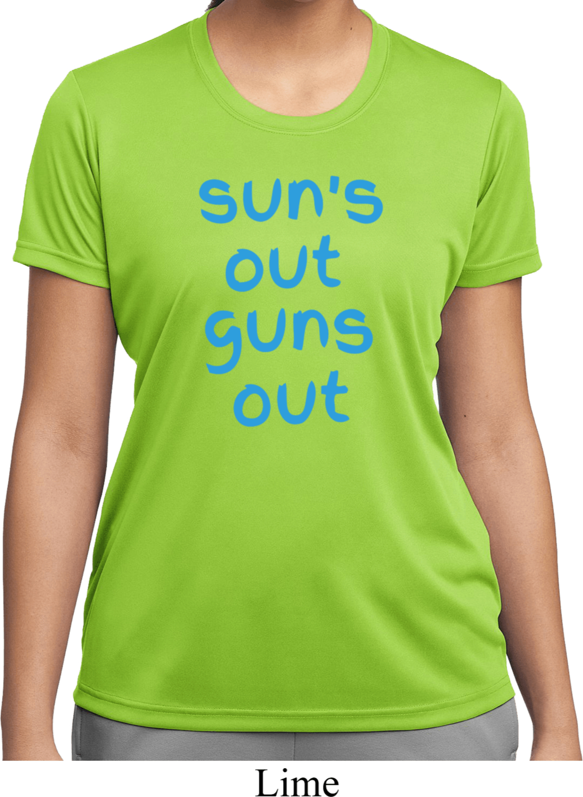 Pink Suns Out Guns Out Ladies Moisture Wicking Sleeveless Tee T-Shirt PSOGO-LST352