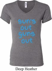 Suns Out Guns Out Ladies V-neck Shirt