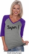 Super Black Print Ladies V-Neck Raglan Shirt