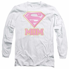Super Mom Long Sleeve Shirt Pink Shield White Tee T-Shirt