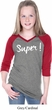 Super White Print Girls Three Quarter Sleeve V-Neck Raglan Shirt