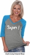 Super White Print Ladies Three Quarter Sleeve V-Neck Raglan Shirt