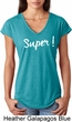 Super White Print Ladies Tri Blend V-Neck Shirt