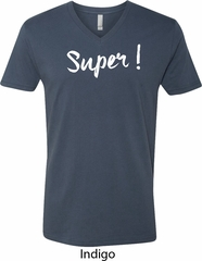 Super White Print Mens V-Neck Shirt