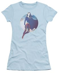 Supergirl Juniors Shirt Cloudy Circle Light Blue T-Shirt