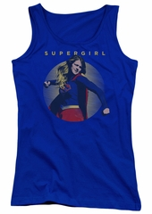 Supergirl Juniors Tank Top Classic Hero Royal Blue Tanktop