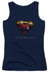 Supergirl Juniors Tank Top Logo Glare Navy Blue Tanktop