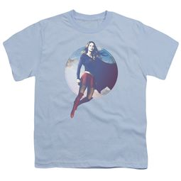 Supergirl Kids Shirt Cloudy Circle Light Blue T-Shirt